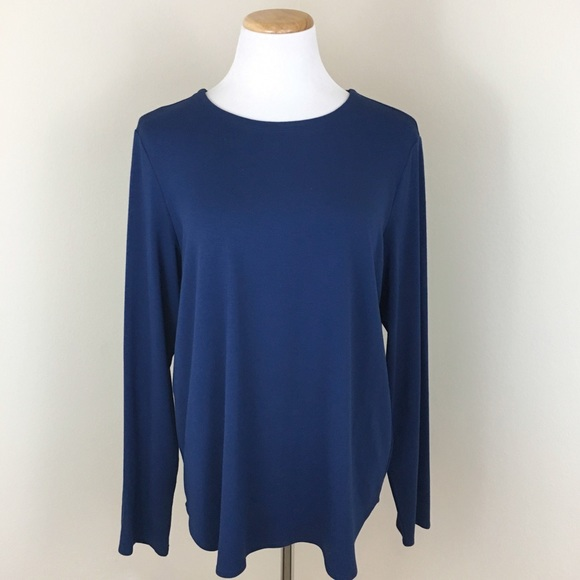 Eileen Fisher Tops - Eileen Fisher Cobalt Blue Long Sleeve CrewNeck Tee